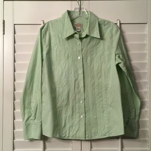 Talbots Green and White Stripped Buttondown